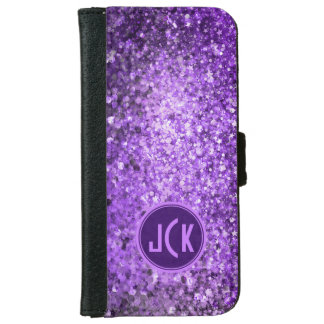 Monogramed Elegant Purple Glitter & Sparkles iPhone 6 Wallet Case