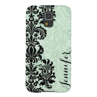 Monogramed Floral Black Lace & Light Green Damasks Case For Galaxy S5