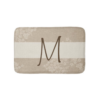 Monogramed Floral Canvas Bath Mat