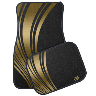 Monogramed Gold And Black Wavy Stripes Floor Mat