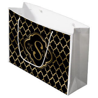 Monogramed Gold & Black Quatrefoil Pattern Large Gift Bag