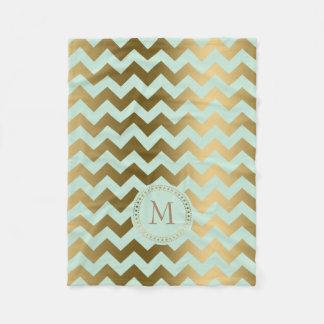 Monogramed Gold & Mint-Green Zigzag Chevron Fleece Blanket