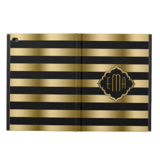 Monogramed Gold Stripes Geometric Pattern