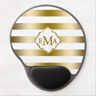 Monogramed Gold Stripes Geometric Pattern Gel Mouse Pad