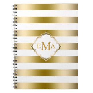 Monogramed Gold Stripes Geometric Pattern Notebook