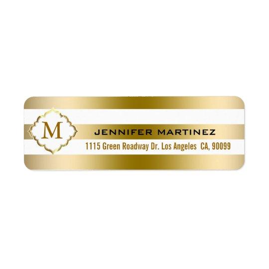 Monogramed Gold Stripes Geometric Pattern Return Address Label