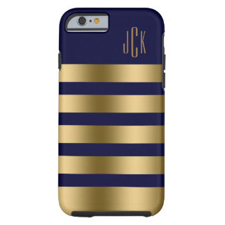 Monogramed Gold Stripes Over Navy Blue Background Tough iPhone 6 Case