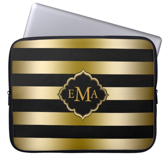 Monogramed Gold Tones & Black Stripes Pattern Laptop Sleeve