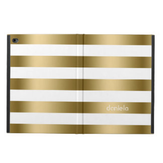 Monogramed Gold & White Stripes Geometric Pattern Powis iPad Air 2 Case