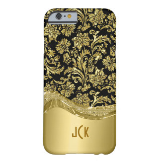 Monogramed Metallic Gold Damasks Black Background Barely There iPhone 6 Case