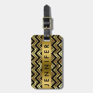Monogramed Metallic Gold Zigzag Chevron Pattern Luggage Tag