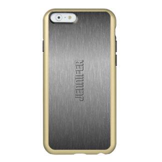 Monogramed Metallic Gray Brushed Steel Look Incipio Feather® Shine iPhone 6 Case