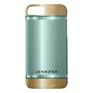 Monogramed Metallic Mint-Green And Gold iPhone 7 Case