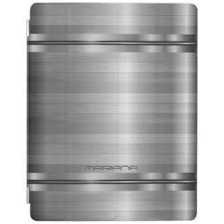 Monogramed Metallic Silver Gray Stripes Pattern iPad Cover