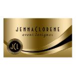 Monogramed Modern Black & Gold Dynamic Lines 2 Pack Of Standard Business Cards