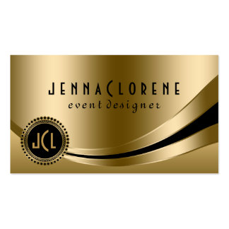 Monogramed Modern Black & Gold Dynamic Lines 2 Pack Of Standard Business Cards