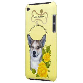 Monogramed Norwegian Lundehund and Yellow Roses Barely There iPod Covers