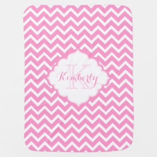 Monogramed Pink And White Zigzag Chevron 2 Baby Blanket