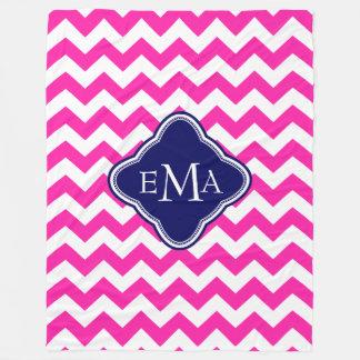 Monogramed Pink Blue And White Zigzag Chevron Fleece Blanket