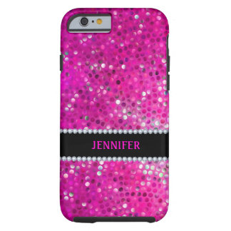 Monogramed Pink Glitter & Diamonds Tough iPhone 6 Case