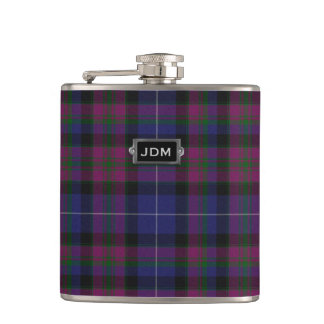 Monogramed Pride of Scotland Tartan Plaid Flask