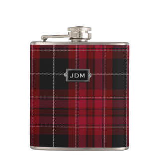 Monogramed Pride of Wales Tartan Plaid Flask