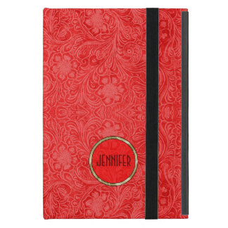 Monogramed Red Suede Leather Look Floral Design 2 Covers For iPad Mini