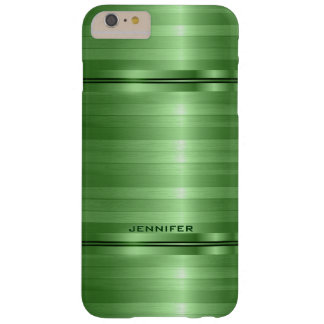 Monogramed Shiny Metallic Green Stripes Barely There iPhone 6 Plus Case