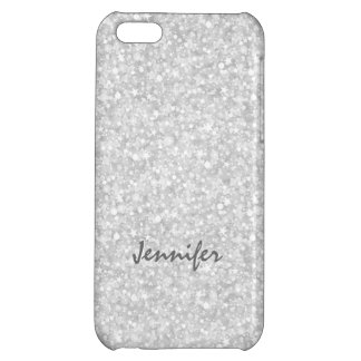 Monogramed Silver Gray Glitter & Sparkles iPhone 5C Covers