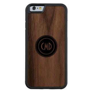 Monogramed Simple Black Circle Carved Walnut iPhone 6 Bumper Case