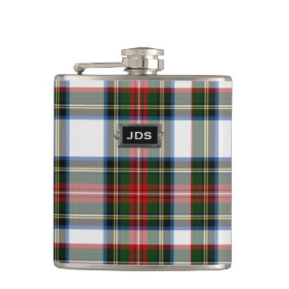 Monogramed Stewart Dress Tartan Plaid Flask