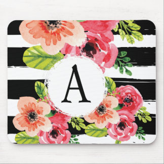 Monogramed Watercolor Floral & Black White Stripes Mouse Pad