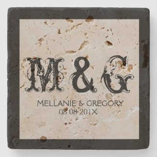 Monogramed Wedding Text Design Stone Coaster