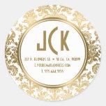 Monogramed White & Gold Floral Damasks Pattern Round Sticker