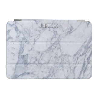 Monogramed White Marble Stone Pattern iPad Mini Cover
