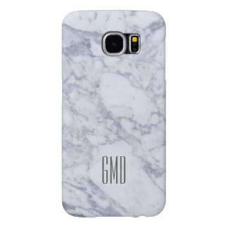 Monogramed White Marble Stone Pattern Samsung Galaxy S6 Cases