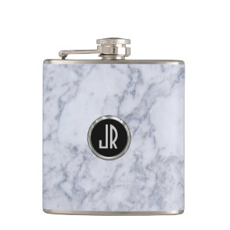 Monogramed White Marble Stone Pattern & Silver Hip Flask