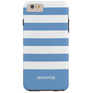 Monogramed White Stripes Sky Blue Background Tough iPhone 6 Plus Case