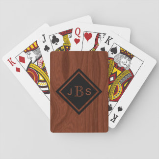 Monogrammed 3 Letters | Mahogany Wood Look Playing Cards