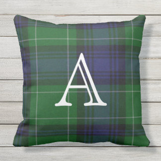 Monogrammed Abercrombie Plaid Outdoor Pillow