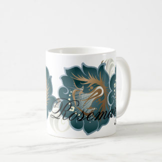 Monogrammed Abstract Flowers Blue-Green & Bronze Coffee Mug