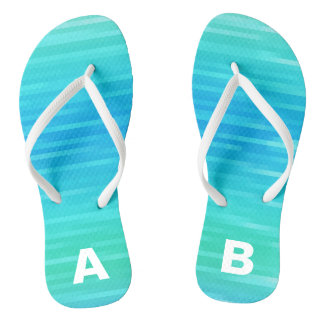 Monogrammed Abstract Teal Turquoise Blue Green Thongs