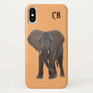 Monogrammed African Elephant iPhone X Case