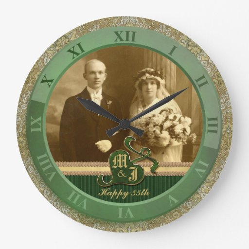 Monogrammed Antique Damask Gold Green Wedding Wall Clock