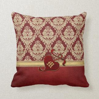 Monogrammed Antique Damask Gold Red Pomegranate Cushion