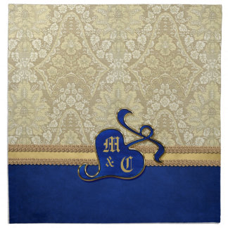 Monogrammed Antique Damask Gold Royal Blue Velvet Napkin