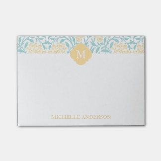 Monogrammed Aqua and Yellow Floral Damask Post-it Notes