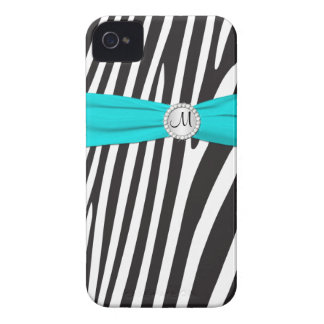 Monogrammed Aqua, Black, White Zebra Striped iPhone 4 Case