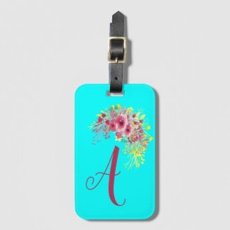 Monogrammed Aqua blue and floral Luggage Tag