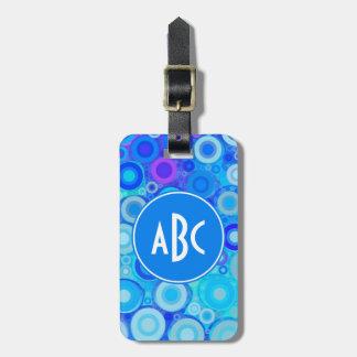 Monogrammed Aqua Blue Rings Mosaic Luggage Tag
